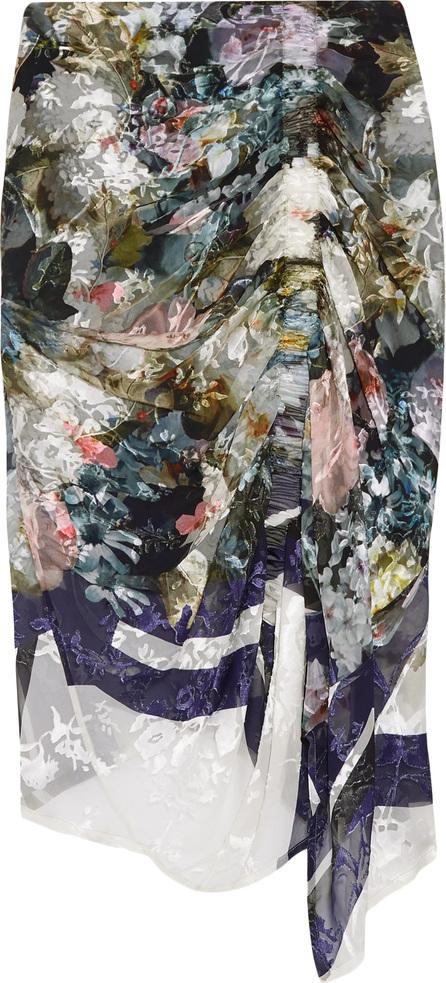 Preen Terence asymmetric devoré silk-blend chiffon midi skirt
