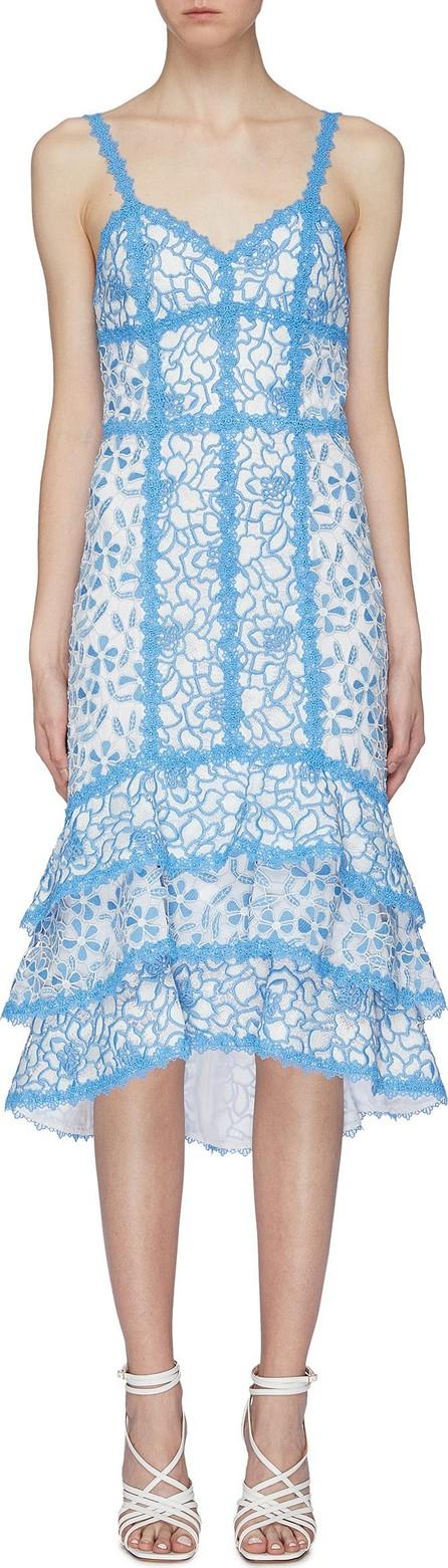 Alice + Olivia 'Diane' tiered hem floral crochet lace midi dress