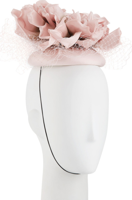 Rachel Trevor Morgan Flower Pillbox Hat w/ Veiling