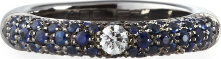 Adolfo Courrier Single Diamond & Pave Blue Sapphire Ring, Size 6
