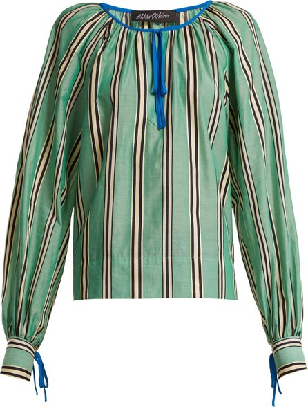 Anna October Stripe printed round neck cotton blouse