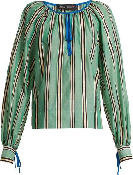 Anna October Stripe printed round neck cotton blouse