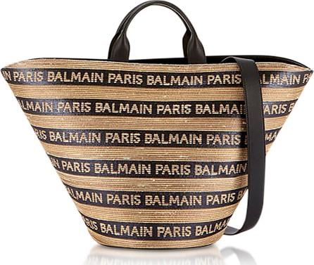 Balmain Beige/Noir Raffia Panier Plage Bag