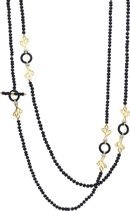 Miseno 18k Gold Sea Leaf Onyx & Diamond Necklace
