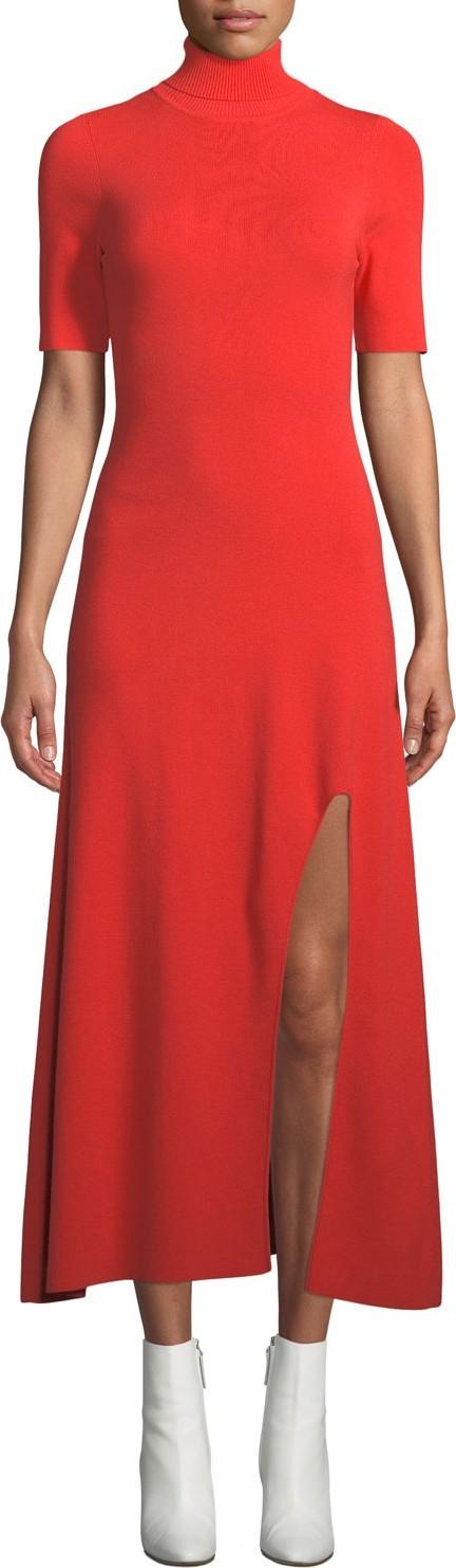 A.L.C. Caplan Turtleneck Short-Sleeve Slit-Front Long Dress