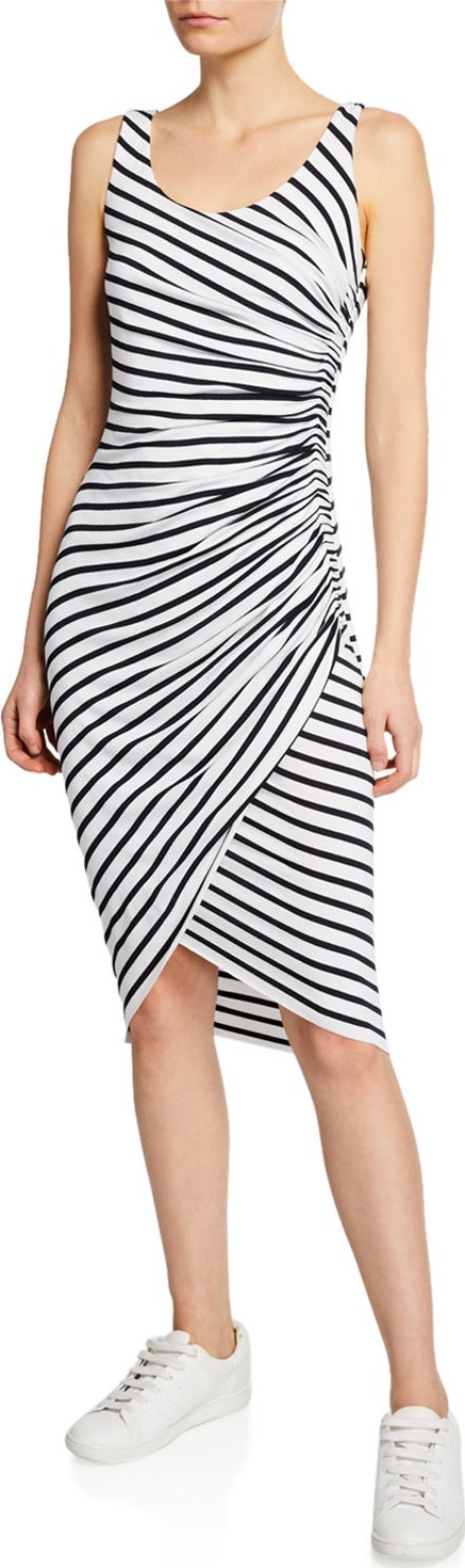 Bailey 44 Objet D'Art Venice-Stripe Ruched Sleeveless Dress