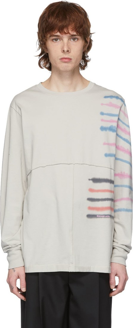 Eckhaus Latta Grey Lapped Step Stripe Long Sleeve T-Shirt