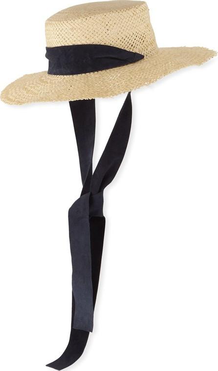 Janessa Leone Nina Straw Sun Hat w/ Pull-Through Scarf