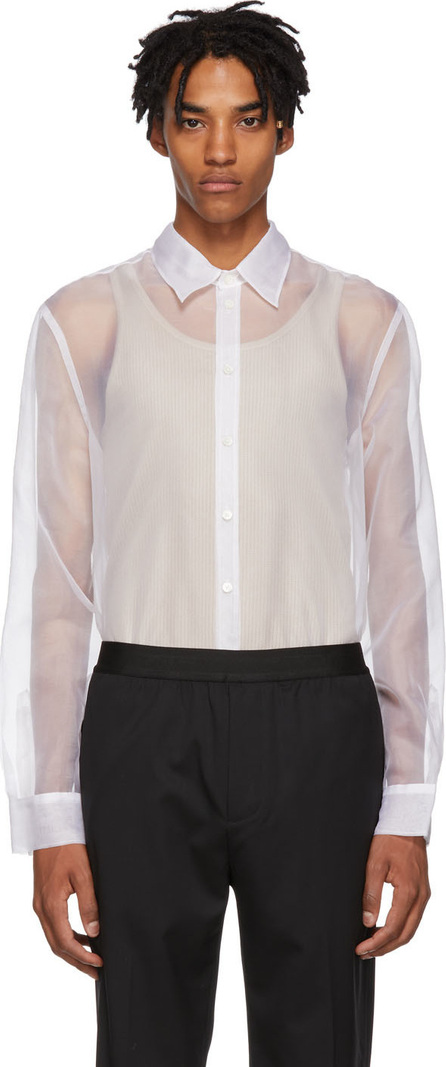 Helmut Lang White Sheer Logo Shirt