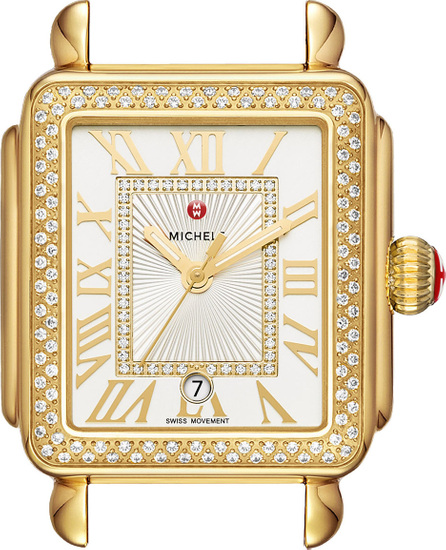 MICHELE Deco Madison Bracelet Watch with Diamonds in 18K Gold Plate