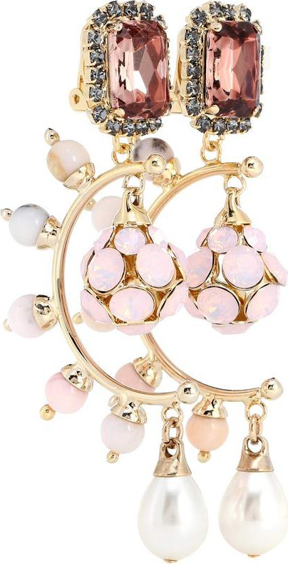 Erdem Crystal drop clip-on earrings