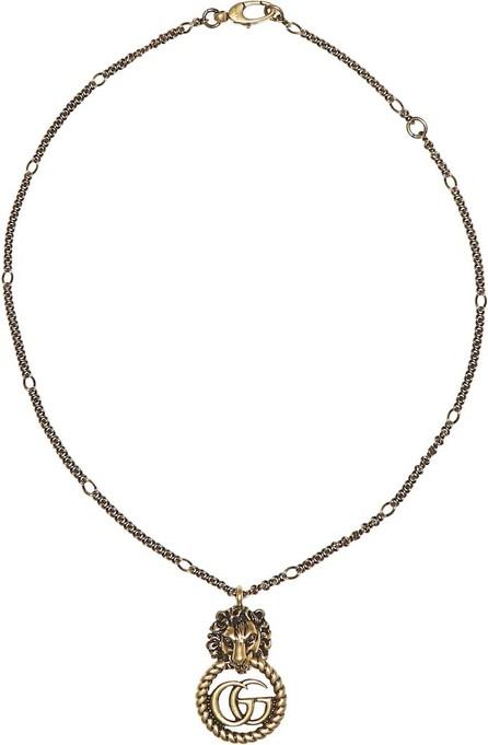 Gucci Double G lion head necklace