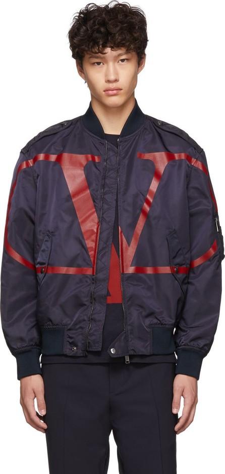 Valentino Navy & Red VLogo Bomber Jacket
