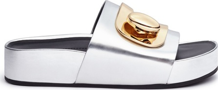 Stella Luna Turnlock buckle leather platform slide sandals