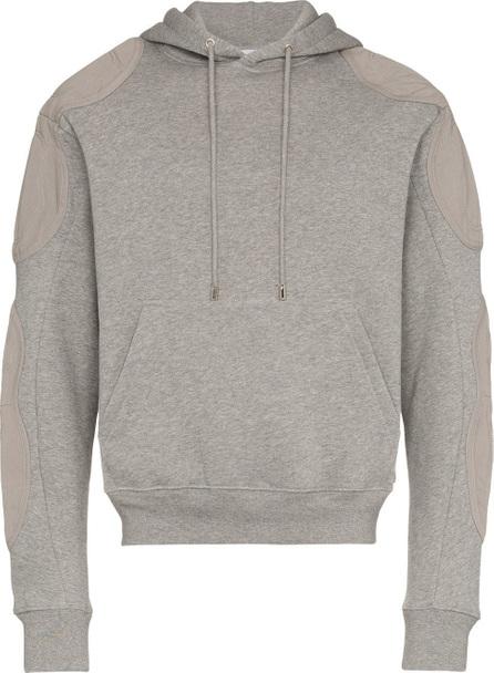 GmbH Grey patch detail cotton hoodie