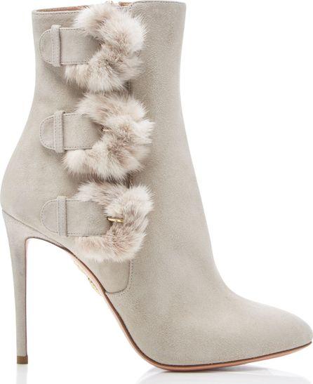 Aquazzura Sinatra Fur-Trimmed Suede Ankle Boots