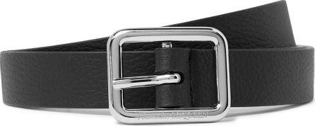 Alexander McQueen 2cm Black Full-Grain Leather Belt