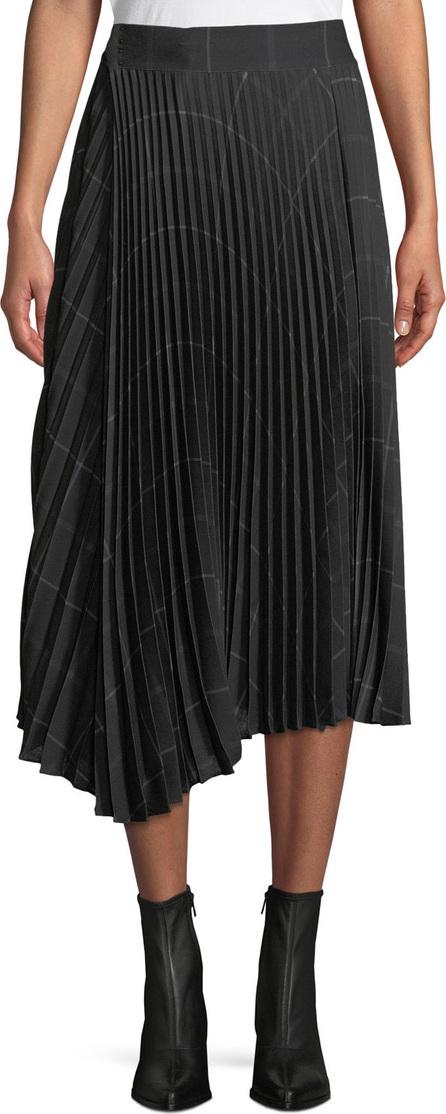 Vince Pleated Draped Plaid Midi Skirt
