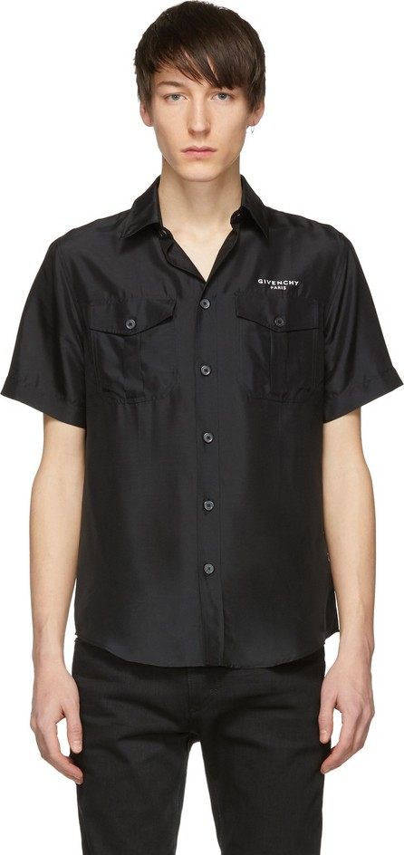Givenchy Black Silk Short Sleeve Shirt