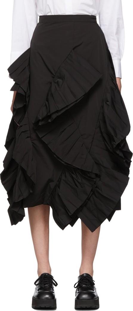 Enfold Black Twill Pleated Frill Skirt