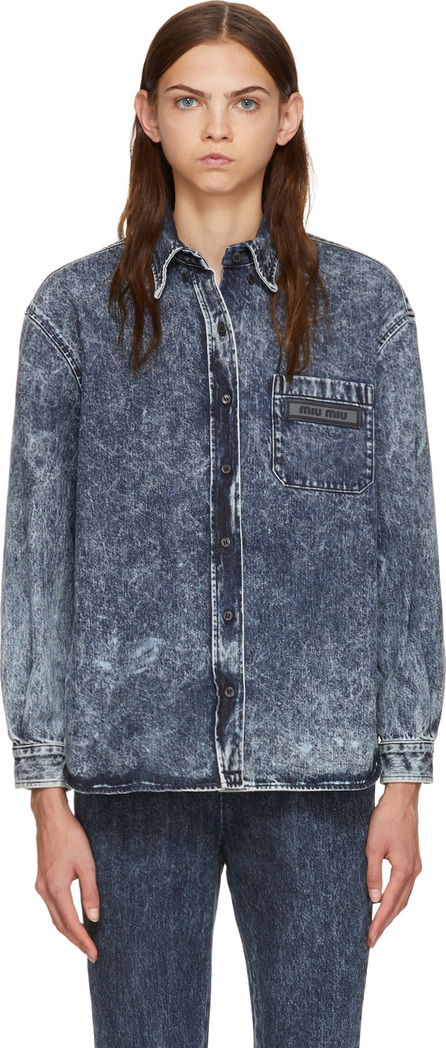 Miu Miu Blue Denim Logo Patch Shirt