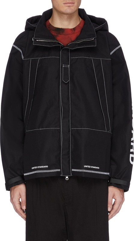 UNITED STANDARD Photographic print back contrast topstitching hooded jacket