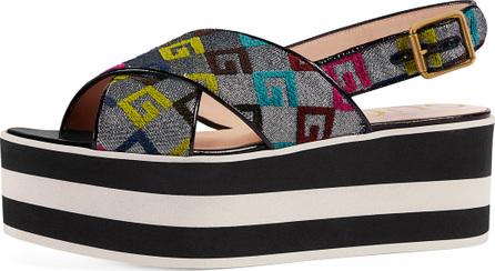 Gucci Peggy GG-Embroidered Platform Sandal