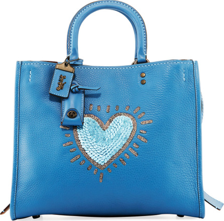 COACH 1941 x Keith Haring Rogue Sequin Heart Satchel Bag