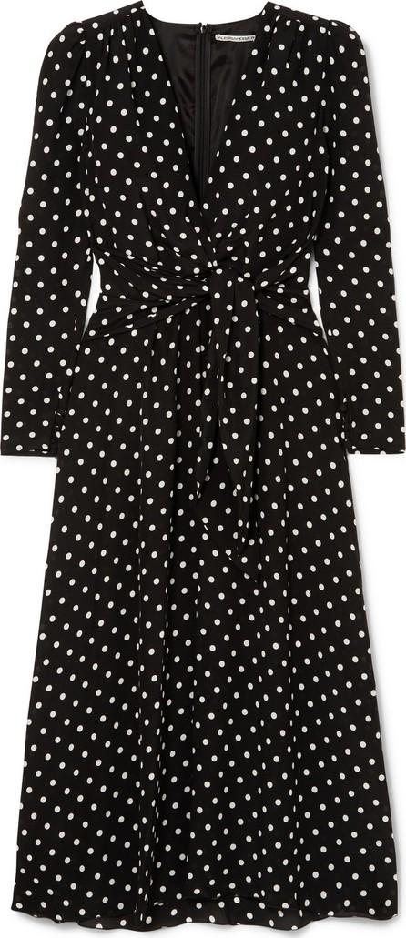 Alessandra Rich Tie-front polka-dot silk crepe de chine midi dress