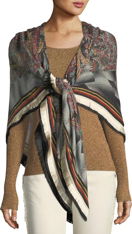 Etro Bombay Wool-Silk Shawl w/ Fringe Border