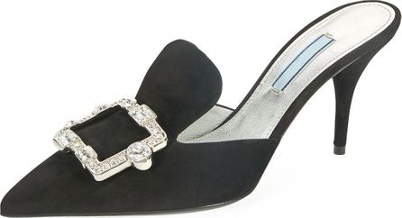 Prada Point-Toe Crystal-Buckle Mule Pump