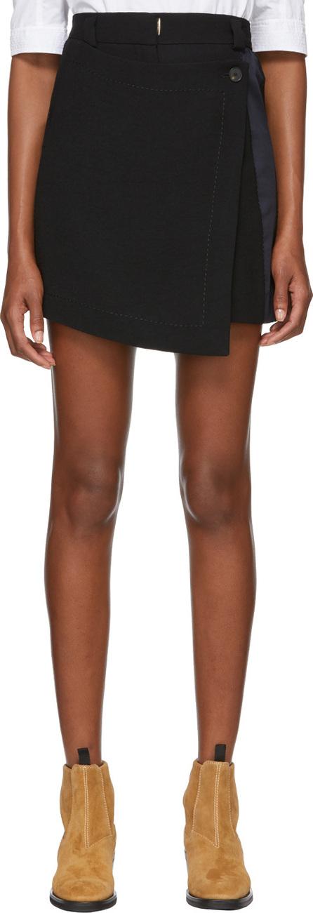 Carven Black Button Wrap Miniskirt