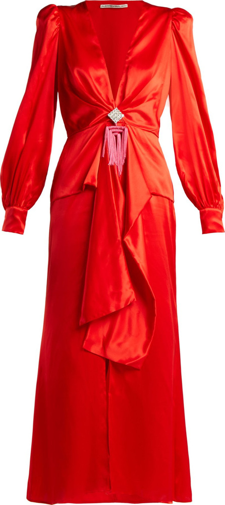 Alessandra Rich V-neck crystal-embellished silk-satin dress