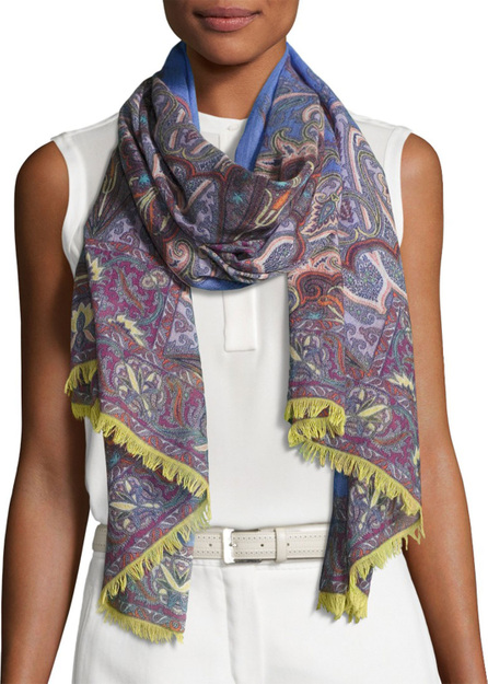 Etro Lightweight Paisley Wool-Blend Scarf, Purple/Blue