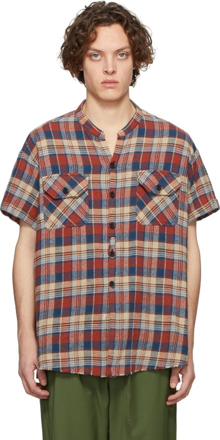 Greg Lauren Red & Blue Classic Studio Cowboy Short Sleeve Shirt