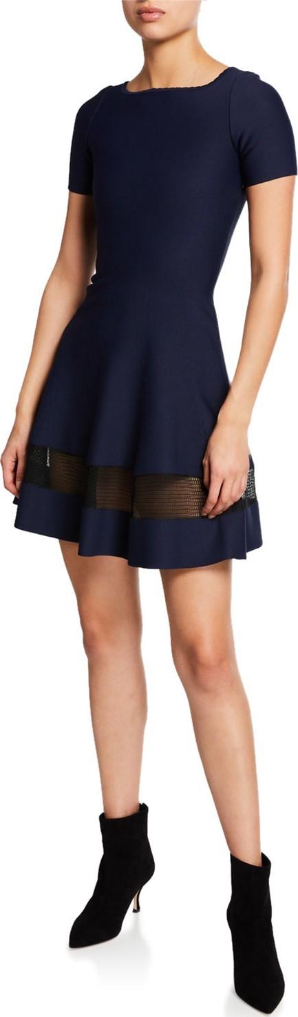 Alaïa Short-Sleeve Bateau Neck Sheer Band Dress