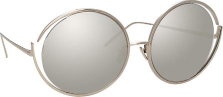 Linda Farrow Round Open-Temple Mirrored Sunglasses, White Pattern