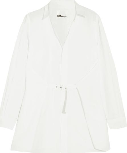 Noir Kei Ninomiya Buckled cotton-poplin shirt