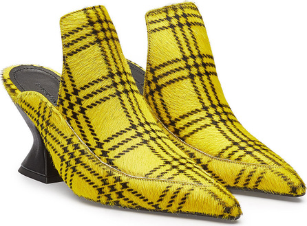 Marques'Almeida Leather Mules with Printed Calf Hair