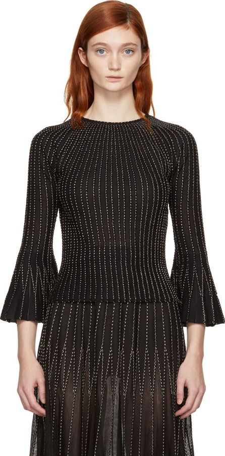 Alexander McQueen Black & Gold Peplum Sweater