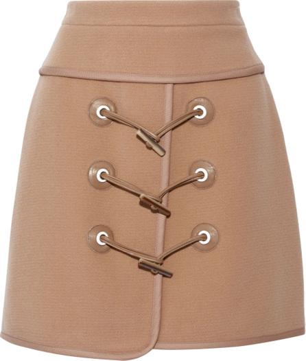 Carven Wrap-effect wool-blend felt mini skirt