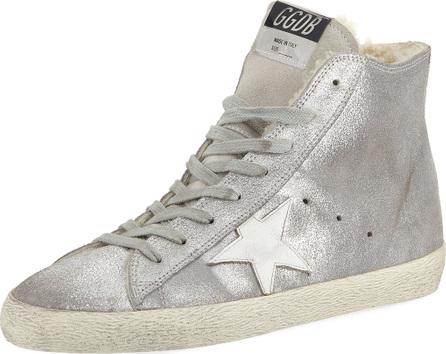 Golden Goose Deluxe Brand Francy Metallic Leather Star High-Top Sneakers with Fur