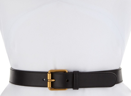 Gucci Leather Square-Buckle Horsebit Belt