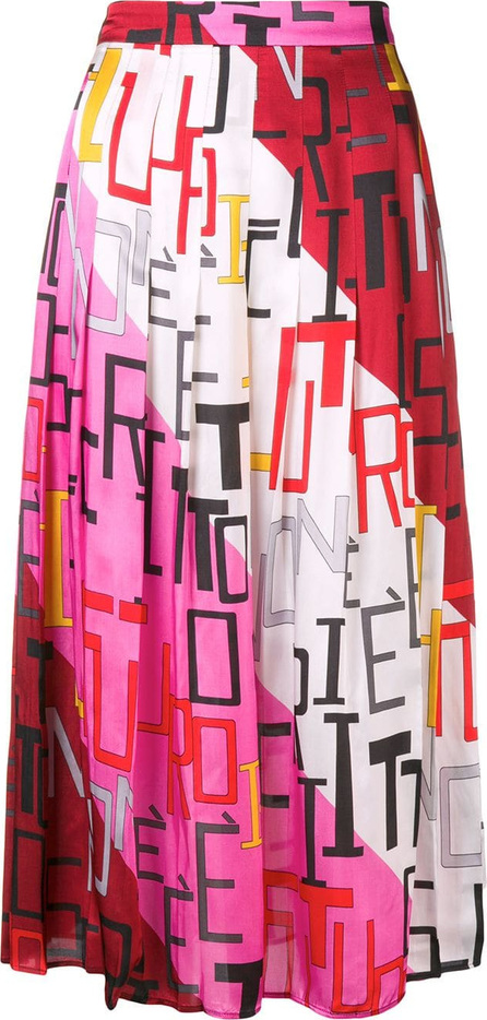 MSGM Graphic print pleated skirt