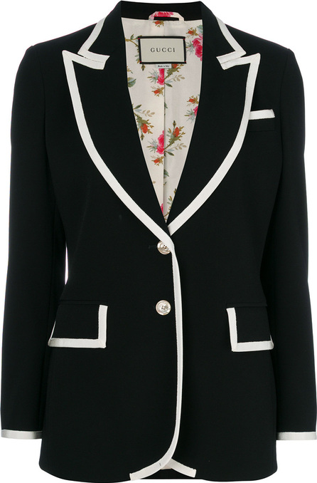 Gucci Contrast-trim single breasted jacket
