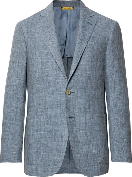 Canali Dusty-Blue Kei Slim-Fit Mélange Linen and Silk-Blend Suit Jacket
