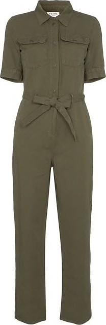 FRAME DENIM Belted Front Button Jumpsuit