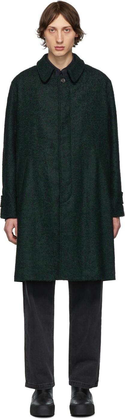 Schnayderman's Black & Green Oversized Bouclé Coat