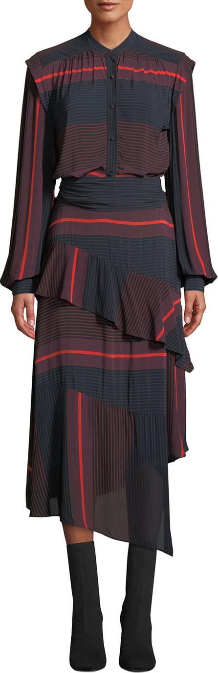 Joie Roz Striped Long-Sleeve Ruffle Dress