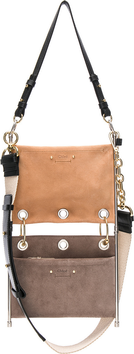 Chloe Small Roy Calfskin & Suede Double Clutch